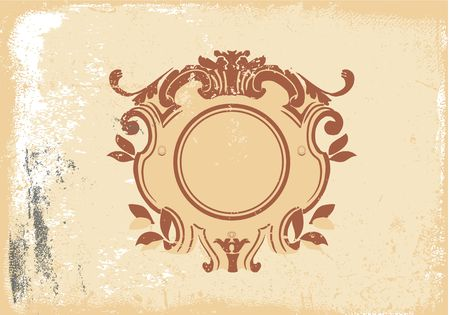 titling: An heraldic titling frame, blank so you can add your own images. Grunge background .  Vector illustration.