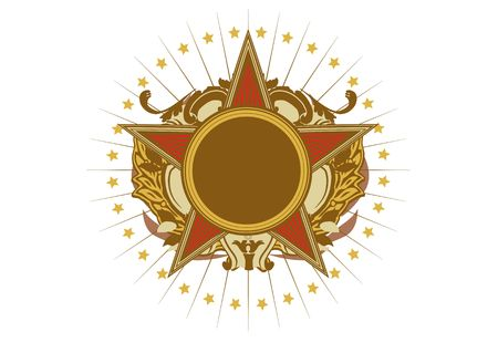 energy ranking: Insignia - star shaped   .  Blank so you can add your own images. Vector illustration. Stock Photo
