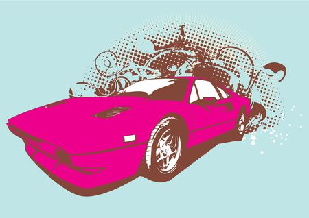 collectors: Vector Illustration of old vintage custom collectors car on grunge background .     Stock Photo