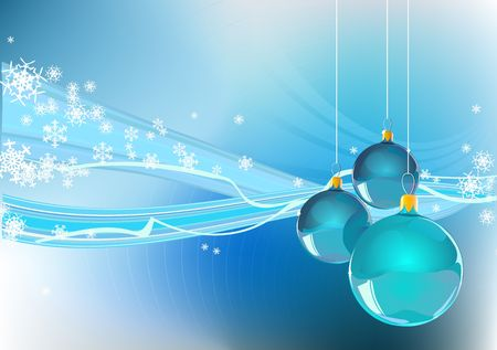 Abstract Christmas background with snowflakes and ornaments Stock Photo - 1930881
