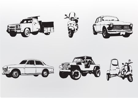 Silhouette cars.  illustration of old vintage custom collectors cars and motorcycle illustration