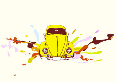 Vector illustration of old car on white background with funky color splashes Vector