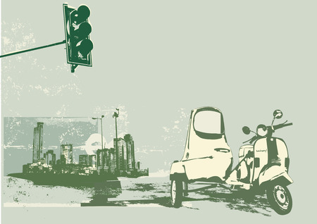 Vector illustration of vintage scooter on the grunge urban background Vector