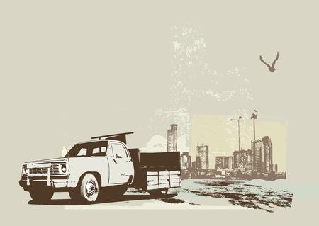 vector   illustration of vintage  truck on the grunge urban background Vector