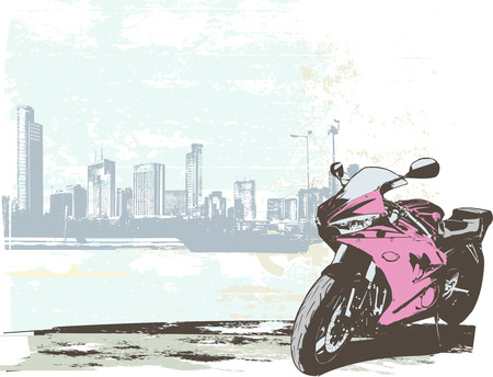 exhilaration: Vector illustration of  sport bike on the grunge urban background