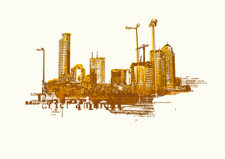 Big City  -  Grunge styled urban background.  Vector illustration. Stock Vector - 2072480