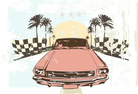 drag race: Vector illustration - High speed racing car on grunge background
