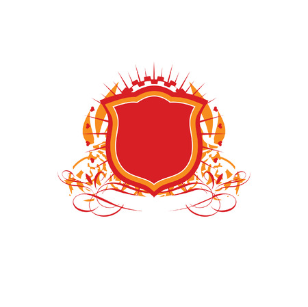 An heraldic shield or badge    ,   blank so you can add your own images. Vector illustration. Vector