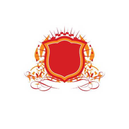 tan: Una insignia o escudo her�ldico, en blanco para que usted pueda a�adir sus propias im�genes. Ilustraci�n vectorial. Vectores