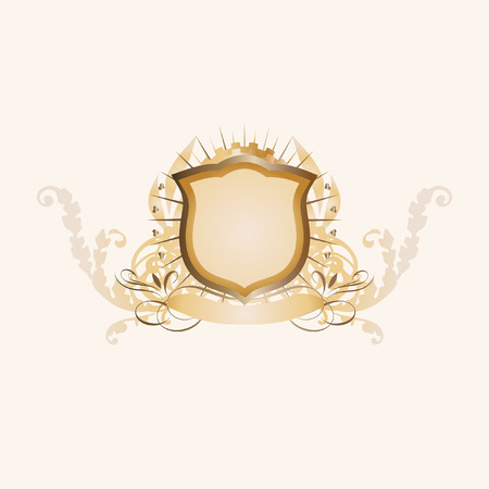 regalia: An heraldic shield or badge    ,   blank so you can add your own images. Vector illustration. Illustration