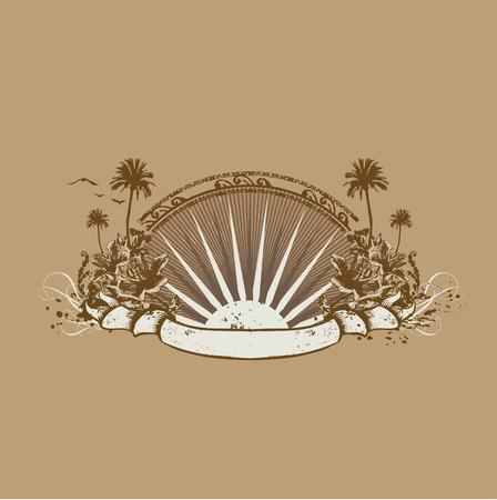 surf silhouettes: Vector insegne e banner. Surice oceano tropicale sulla costa. Grunge stile