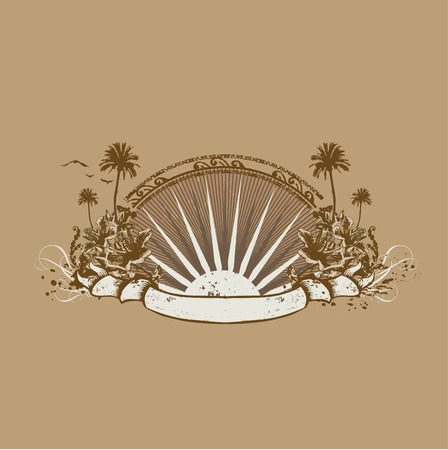 Vector insignia and banner. Surice on the tropical ocean coast. Grunge style Vector