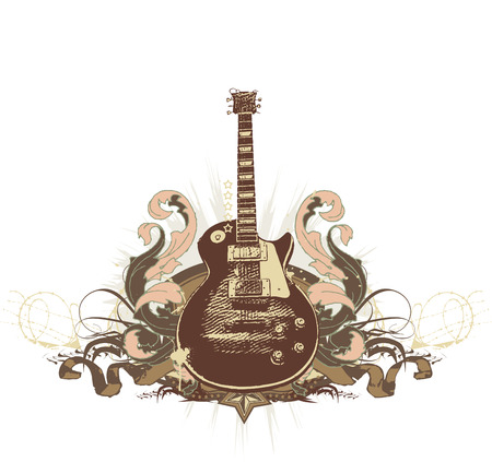 melodic: Guitar on the  grunge background. Vector illustration.