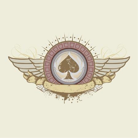 sujeto: Ilustraci�n vectorial sobre un tema de juegos de azar. traje el emblema de Picas Vectores