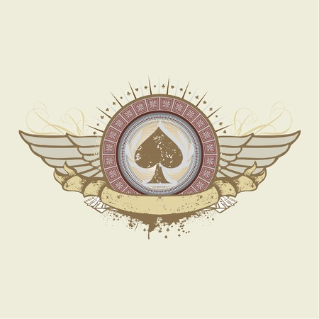 ace of hearts: Vector illustration on a gambling subject. spades suit emblem  Illustration