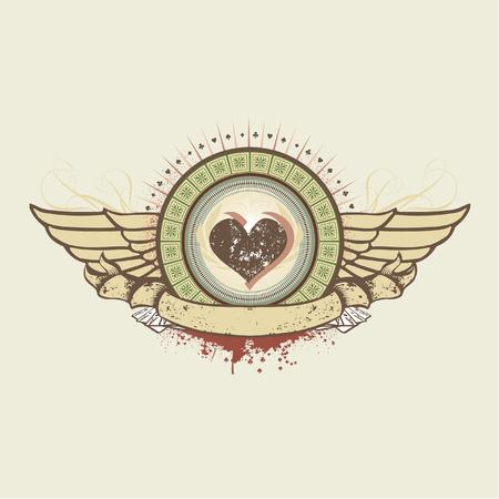 sujeto: Ilustraci�n vectorial en un juego de azar tema. corazones traje emblema