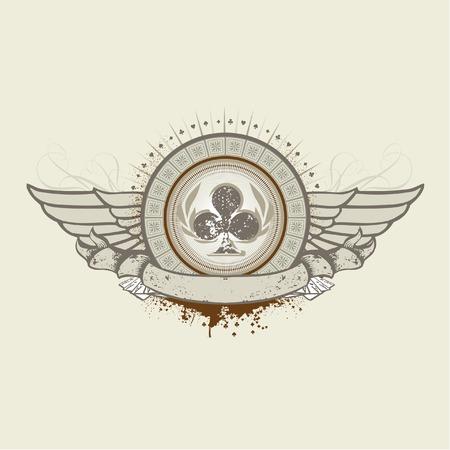 as de picas: Vector ilustraci�n sobre un tema de juego. Club Suit emblema