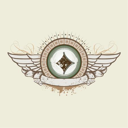 sujeto: Ilustraci�n vectorial sobre un tema de juegos de azar. Emblema de la Suit de diamante