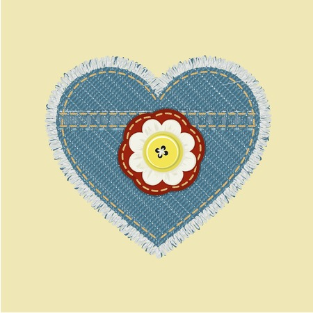 Heart shaped jeans emblem with flower and button. Vector illustration Vector