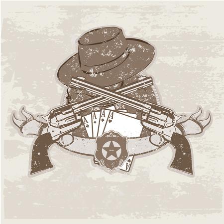 geweer: Vector insignes en banner met twee pistolen en hoed. Vector illustration