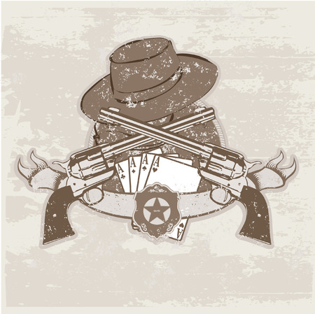 Vector insignia and banner with  two guns and  hat. Vector illustration