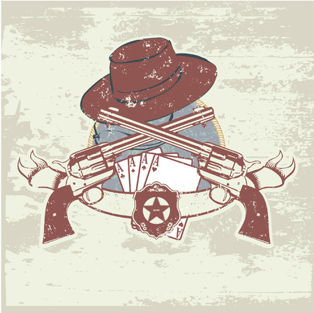 rustler: Vector insignia and banner with  two guns and  hat. Vector illustration