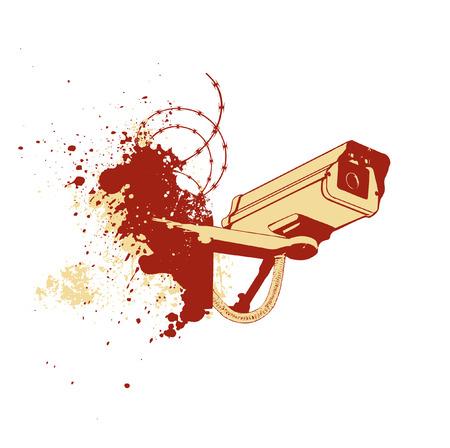 cam�ra surveillance: Vector art en ligne d'un mur de cam�ras de surveillance. Illustration