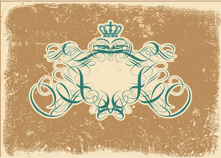 An heraldic titling frame, blank so you can add your own images. Grunge background .  Vector illustration. Vector