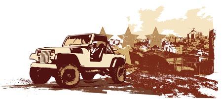illustration vectorielle de stilyzed millésime véhicule militaire sur la pollution de fond urbaine, grunge