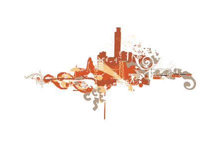 Big City  -  Grunge styled urban background.  Vector illustration.  Vector