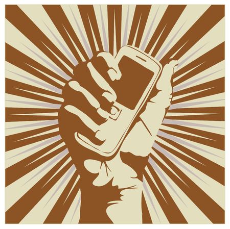 Outline of a hand holding a cell phone.  Vector illustration.  Vector