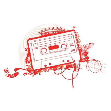 tape cassette: Cassette Tape Stencil . Vector illustration.