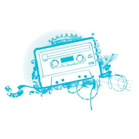tape cassette: Cassette Tape Stencil . Vector illustration