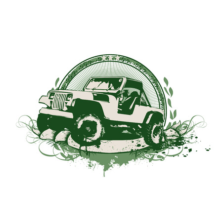 Vector insignia and banner. Grunge stilyzed vintage military vehicle.