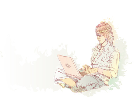 Young guy sitting on the floor with his laptop. Vector illustration  Vector