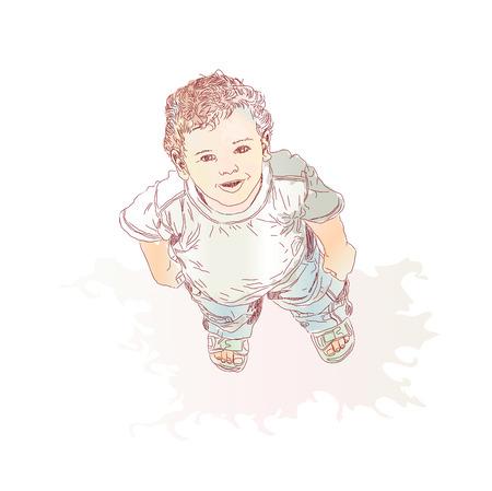 kiddies: Ni�o peque�o, looking up y sonriente. Ilustraci�n vectorial