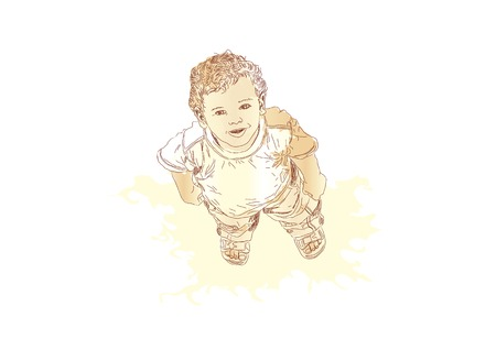 timide: Little boy guardando e sorridendo. Vector illustration