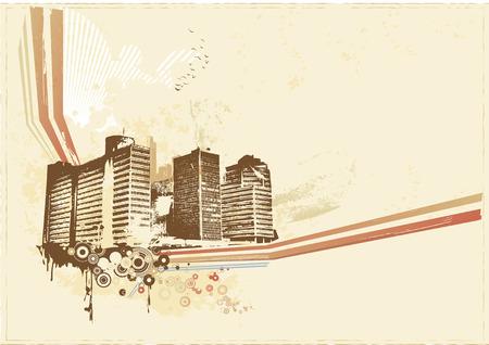 Big City  -  Grunge styled urban background.  Vector illustration. Stock Vector - 2072553