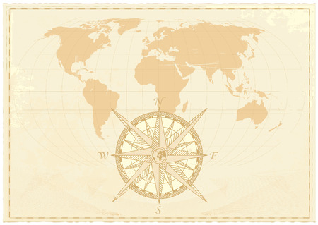 Vintage word map grunge background with retro compass. Vector illustration. Vector