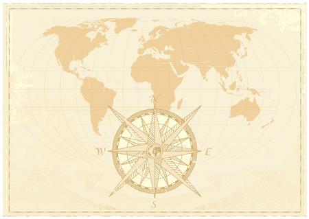 Vintage Wort Karte grunge Hintergrund mit Retro-Kompass. Vector illustration.