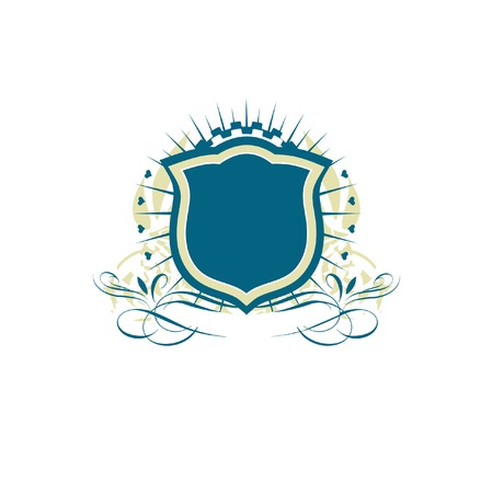 blazonry: An heraldic shield or badge    ,   blank so you can add your own images. Vector illustration. Illustration