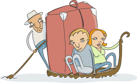 vector sketch of couple with a little to much luggage on traditional venice gondola Vector
