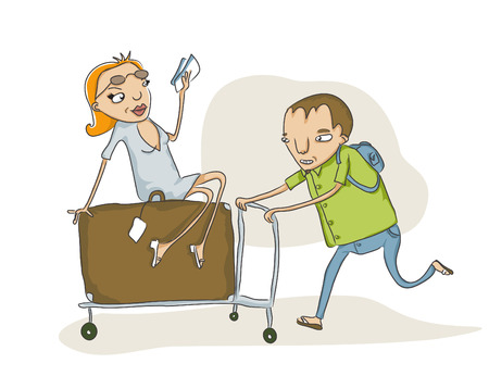 overloaded: vector sketch of  man pushing an overloaded baggage cart
