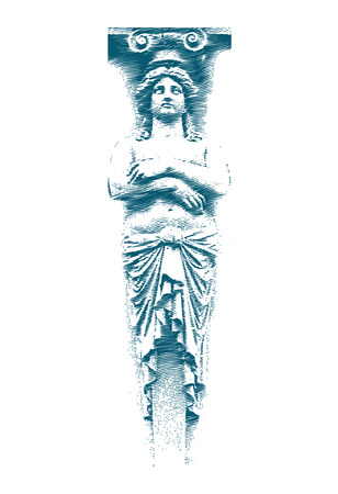 Weibliche Statue auf der Grunge-Stil. Vector illustration. Standard-Bild - 2074067