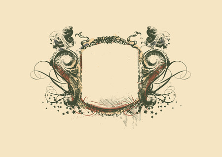 Decorative   frame   with heraldic ornament and sculptural elements on grunge background. vector illustration Illustration