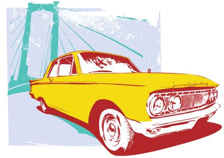 Vector Illustration of old vintage custom collectors car on grunge  urban background