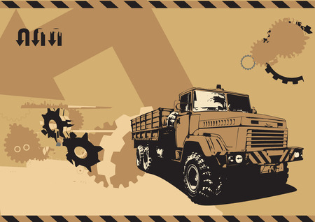 vector  illustration of vintage  truck in a  grunge style on urban background  Vector