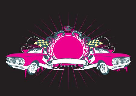 tu puedes: Insignia - dos coches retro con banner. En blanco as� que usted puede agregar sus propias im�genes. Ilustraci�n vectorial