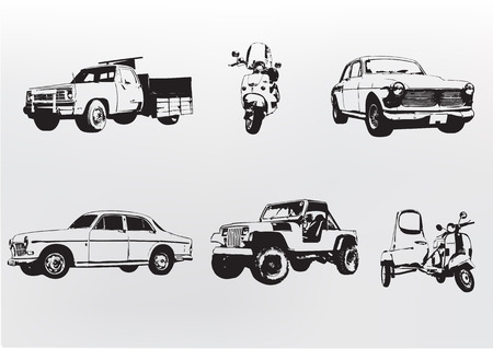 collectors: Silhouette cars. Vector illustration of old vintage custom collectors cars and motorcycle