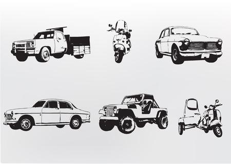 cobradores: Silueta coches. Ilustraci�n vectorial de la vieja costumbre vintage de colecci�n autom�viles y motocicletas